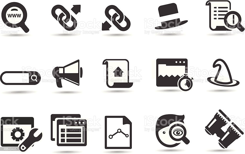 Search Engine Icons vector art illustration