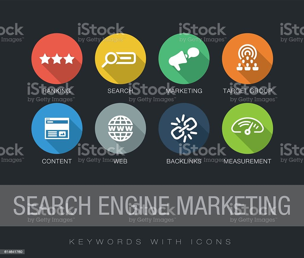 Search Engine Marketing keywords with icons vector art illustration