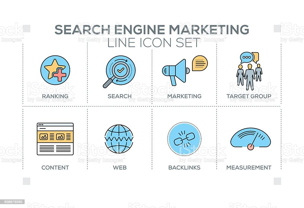 Search Engine Marketing keywords with line icons vector art illustration