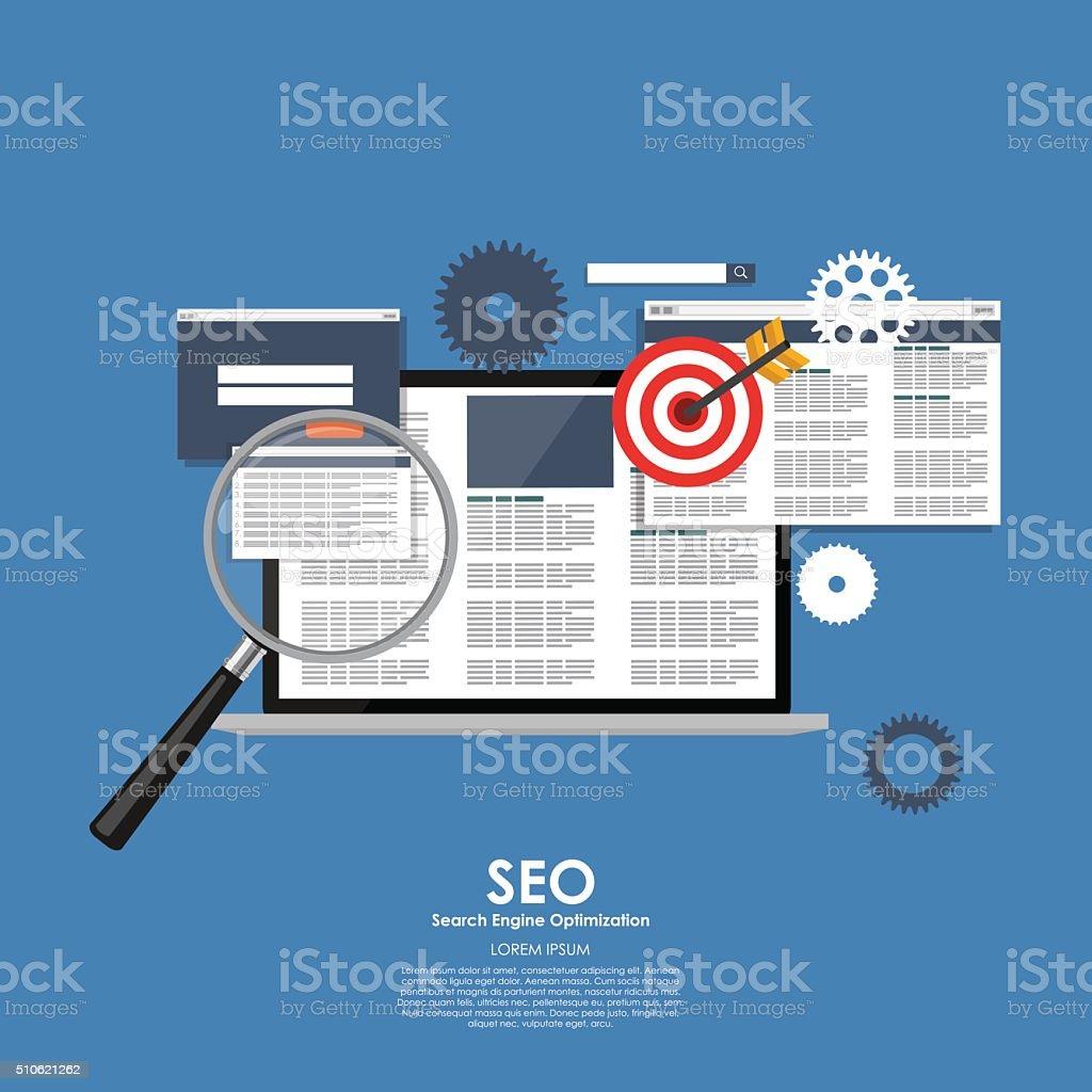 SEO Search Engine Optimazation Vector illustration. Flat computi vector art illustration