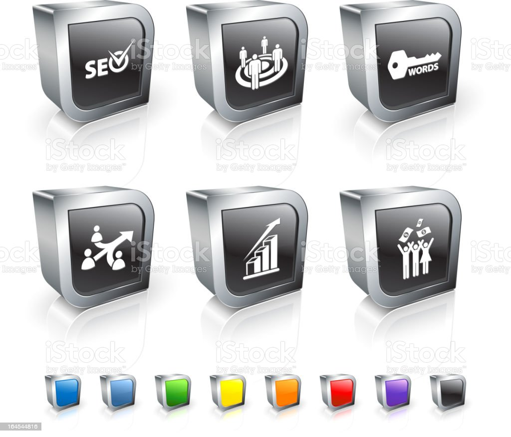 Search engine optimization 3D royalty free vector icon set vector art illustration