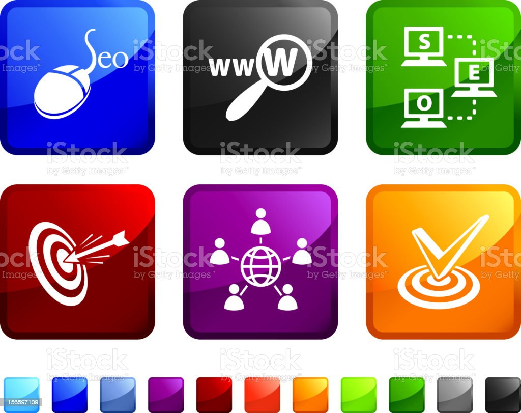 Search engine optimization and internet marketing vector icon set royalty-free stock vector art