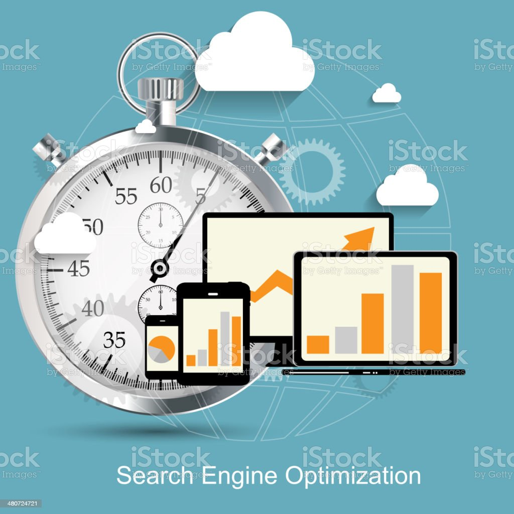 SEO - Search Engine Optimization Flat Icon Vector Illustration royalty-free stock vector art