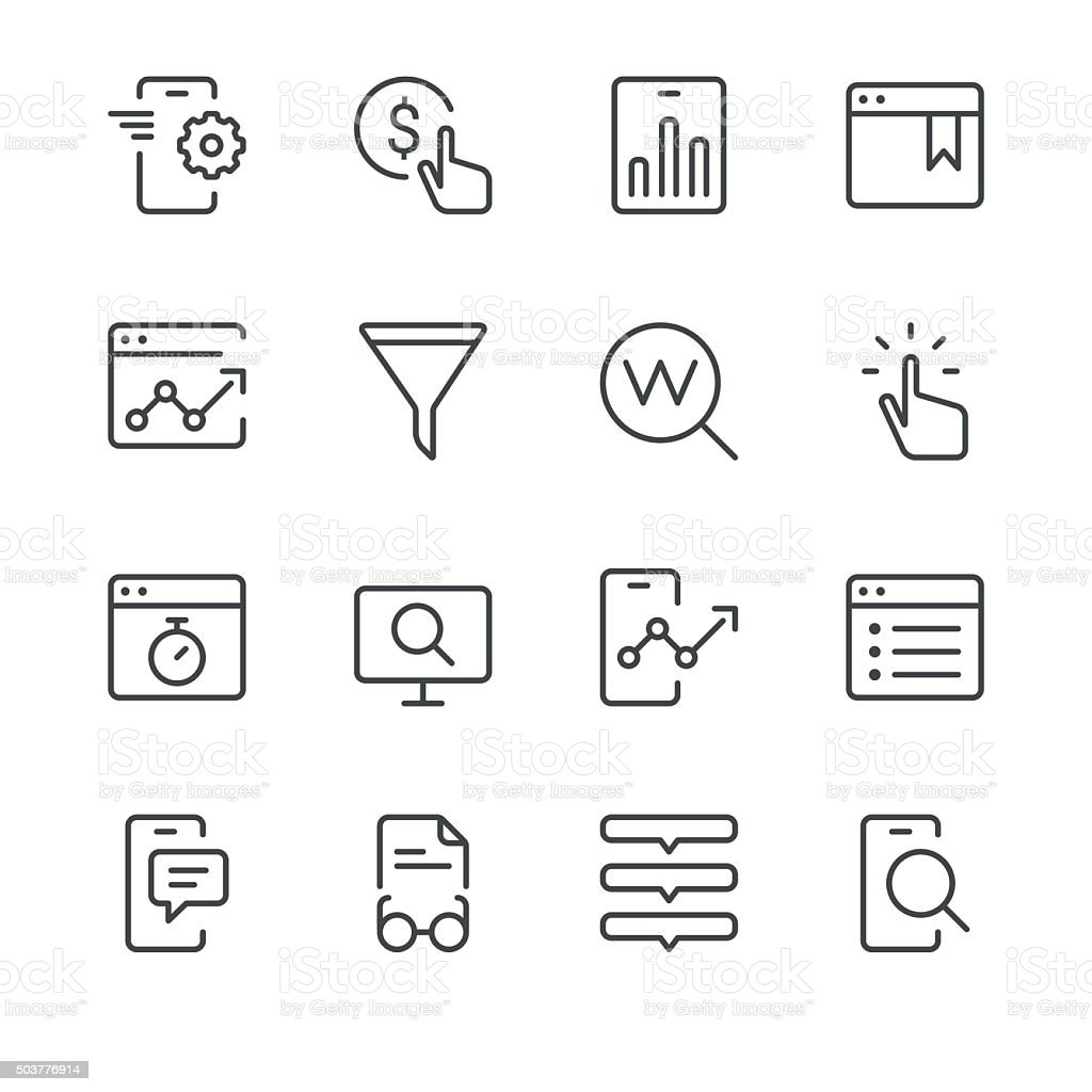 Search Engine Optimization icons set 2 | Black Line series vector art illustration