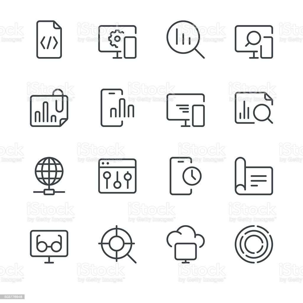 Search Engine Optimization icons set 3 | Black Line series vector art illustration