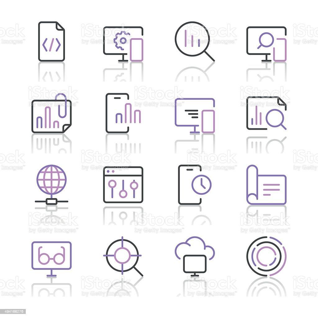 Search Engine Optimization icons set 3   Purple Line series vector art illustration