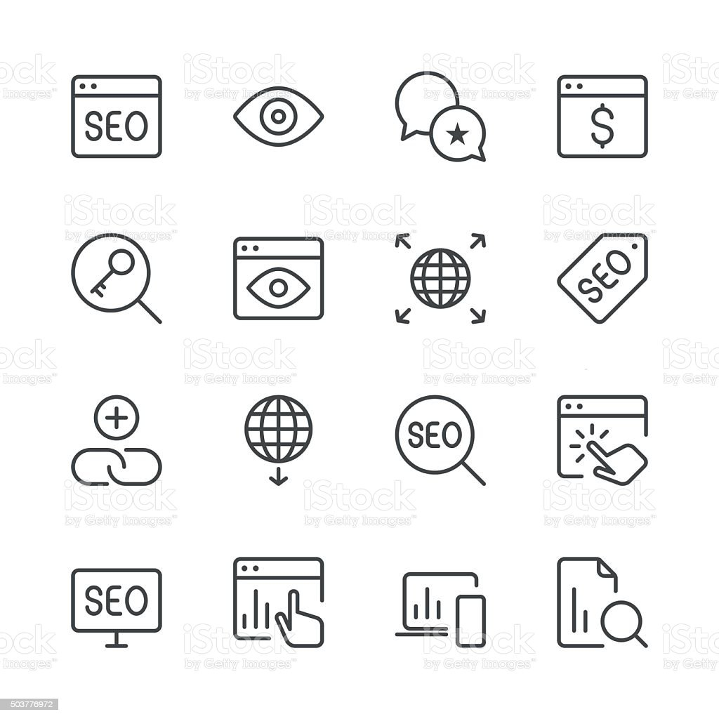Search Engine Optimization icons set 4 | Black Line series vector art illustration