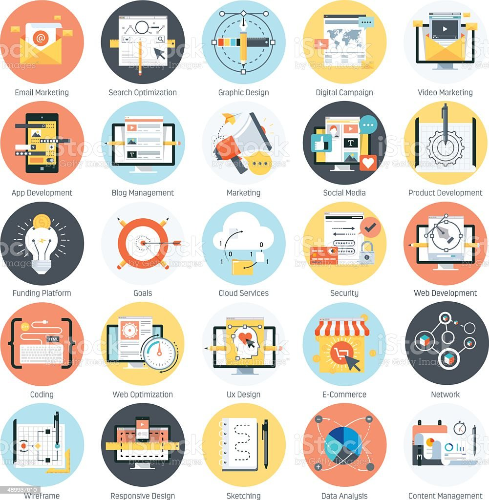 Search engine optimization theme, flat style, colorful, vector i vector art illustration