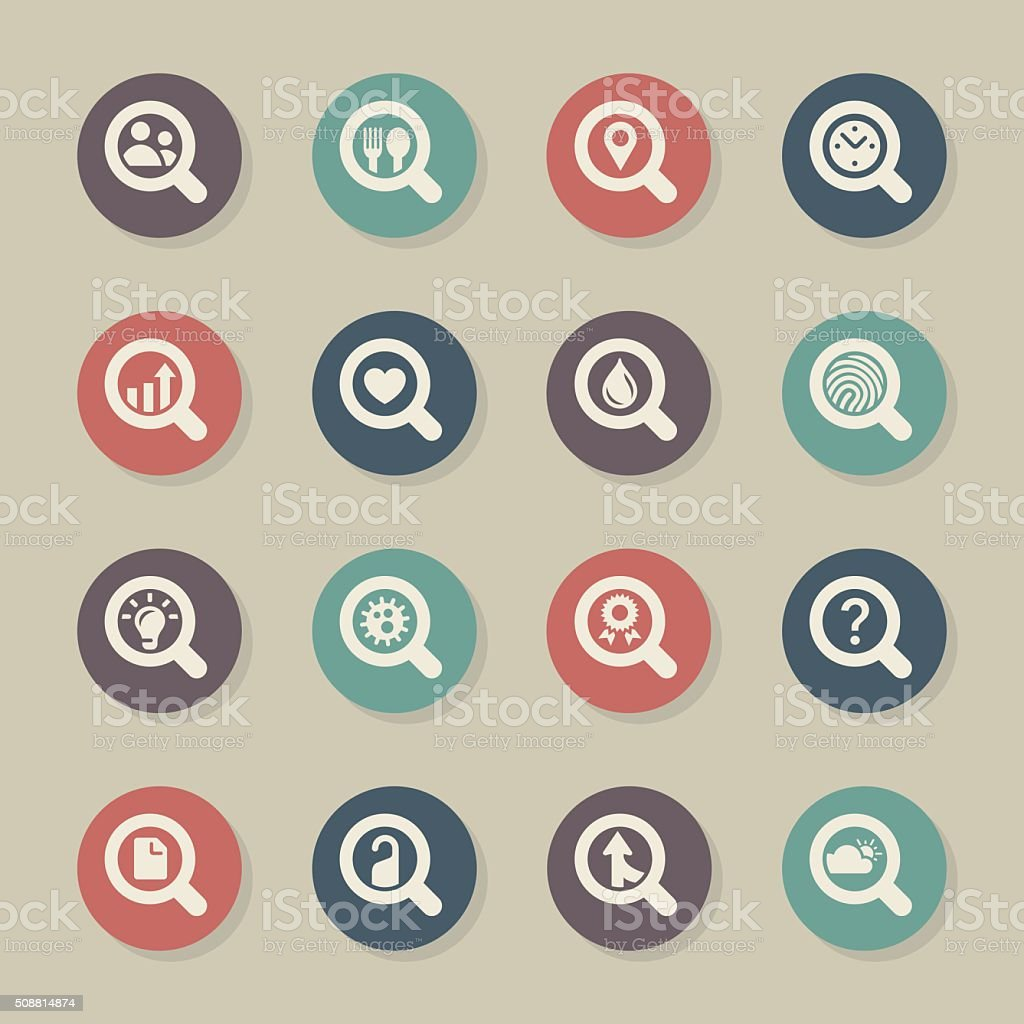 Search Engine Set 2 Icons - Color Circle Series vector art illustration