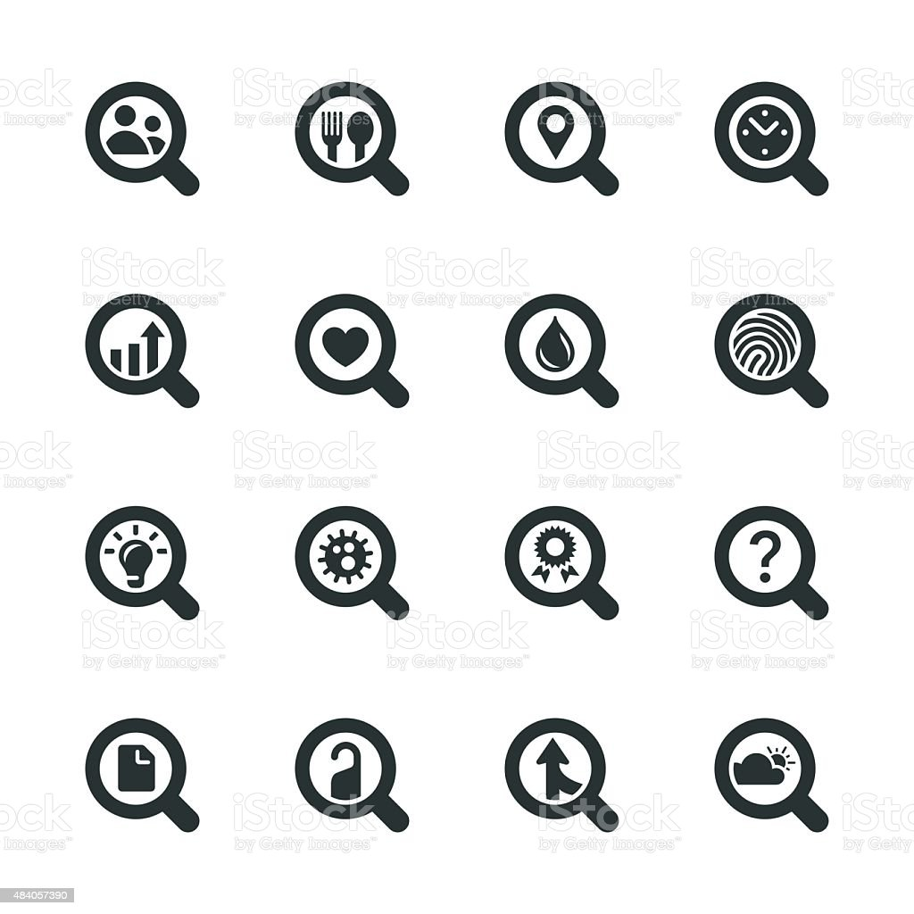 Search Engine Silhouette Icons | Set 2 vector art illustration