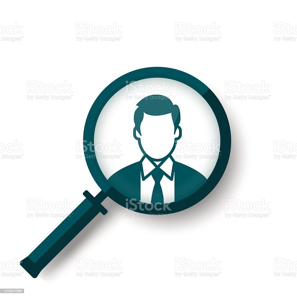 Search for job symbol with magnifying glass vector art illustration