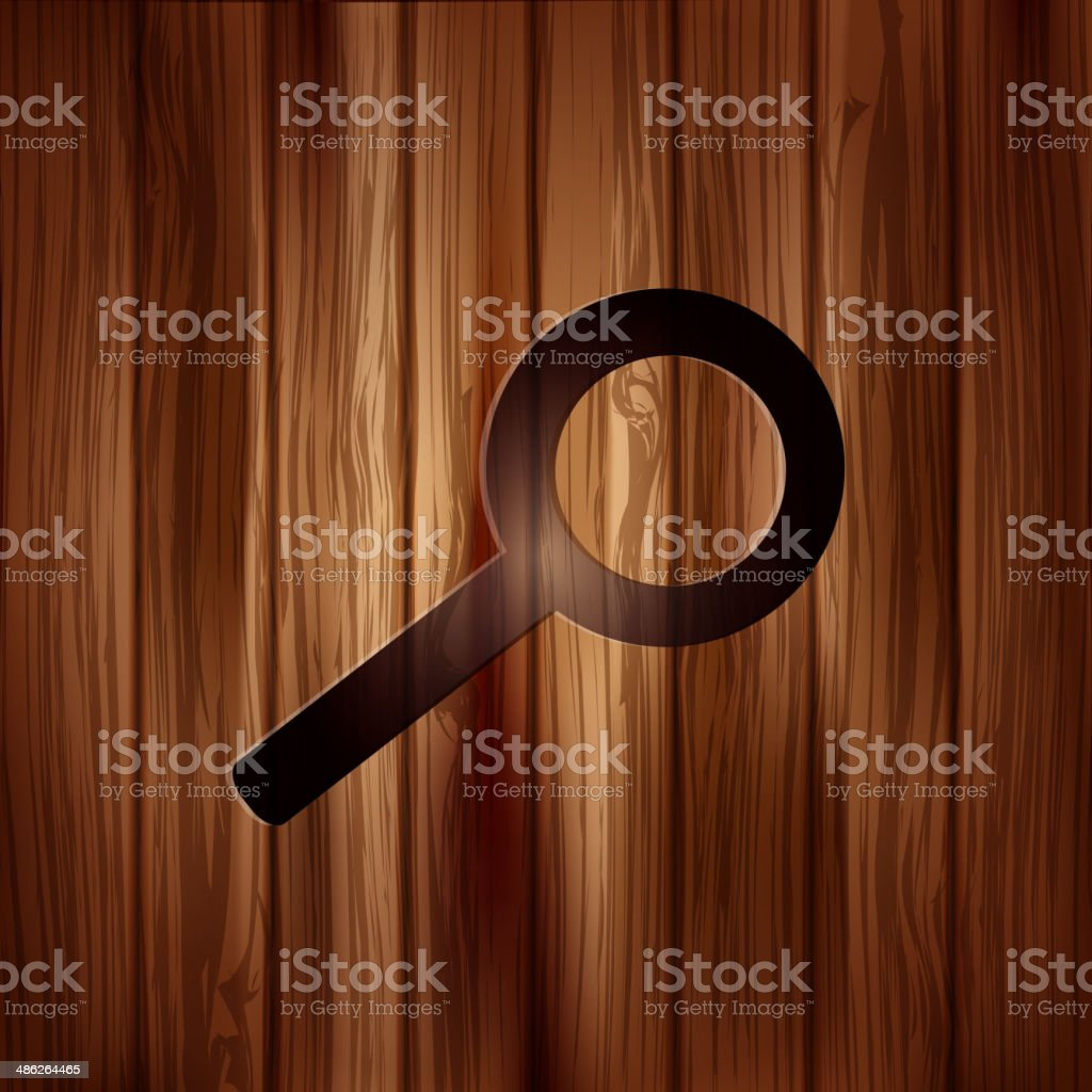 Search icon. Loupe symbol. Wooden background royalty-free stock vector art