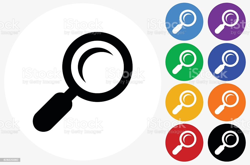 Search Icon on Flat Color Circle Buttons vector art illustration