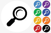Search Icon on Flat Color Circle Buttons