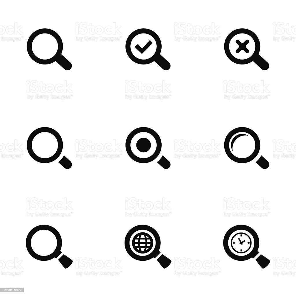 search icons set vector art illustration