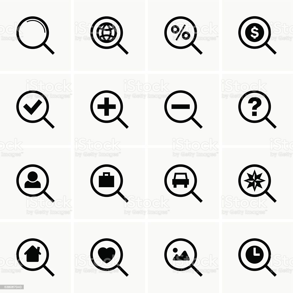 Search icons vector art illustration