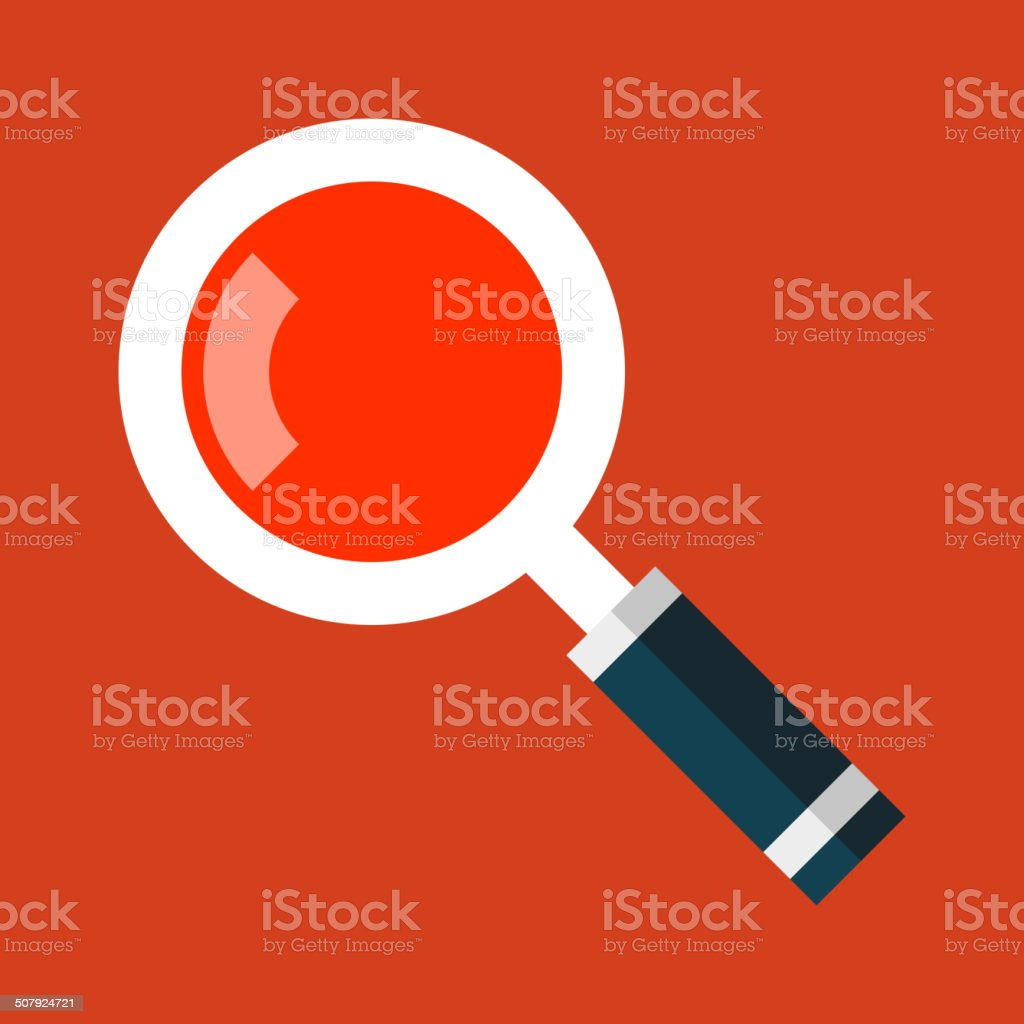Search Magnifying Glass Icon in Flat Style. Vector royalty-free stock vector art