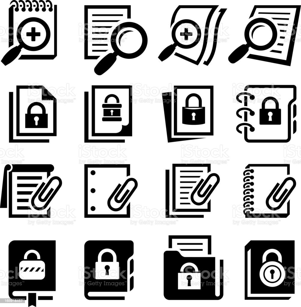 Search Secure Documents with Lock black & white icon set vector art illustration