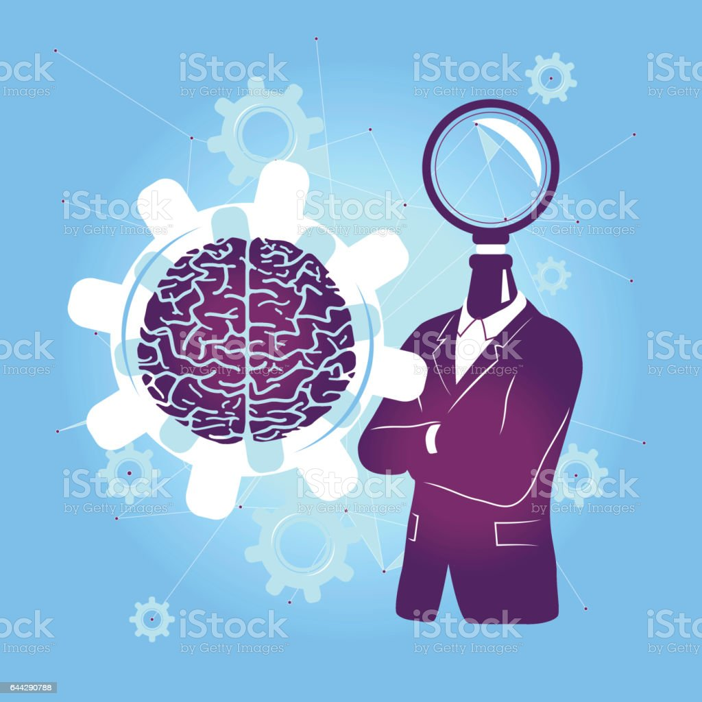 Search the brain for business or medical sollution. vector art illustration
