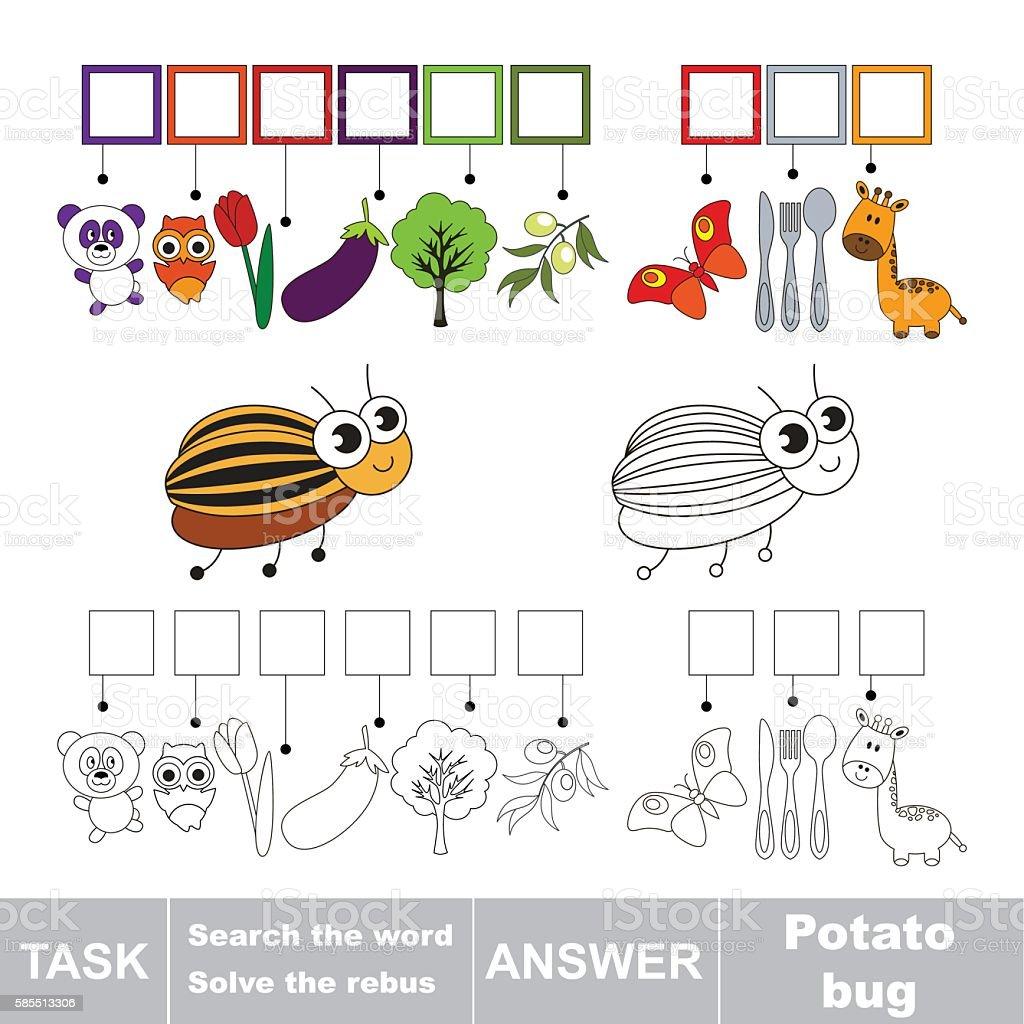 Search the word Potato Bug vector art illustration