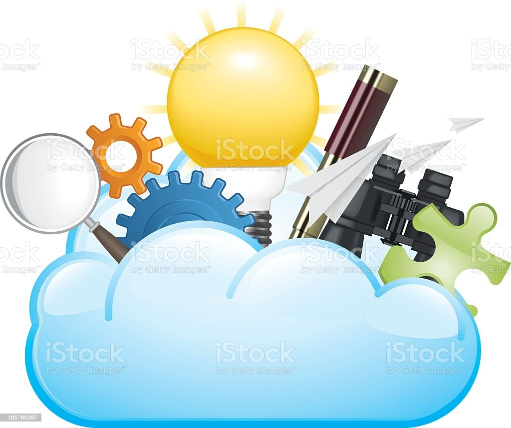 Search Tools in a Cloud vector art illustration