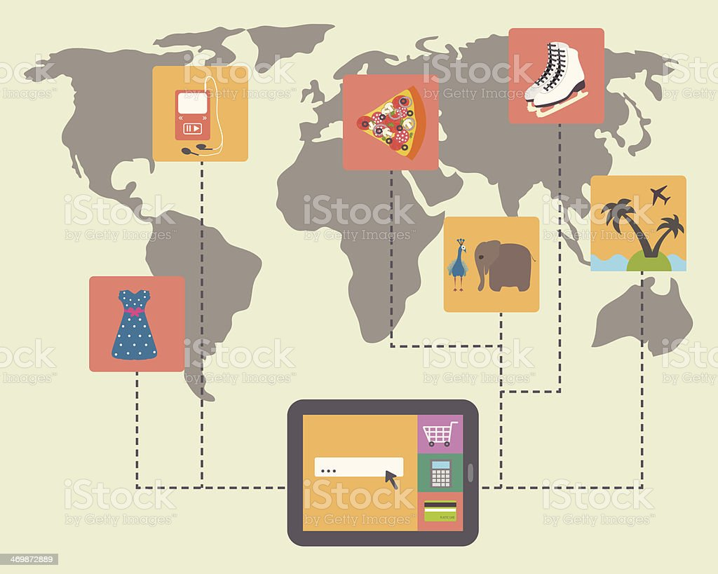 Searching best shopping deals all over the world vector art illustration