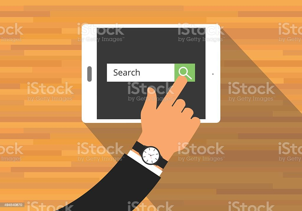 searching concept use tab or pad vector art illustration