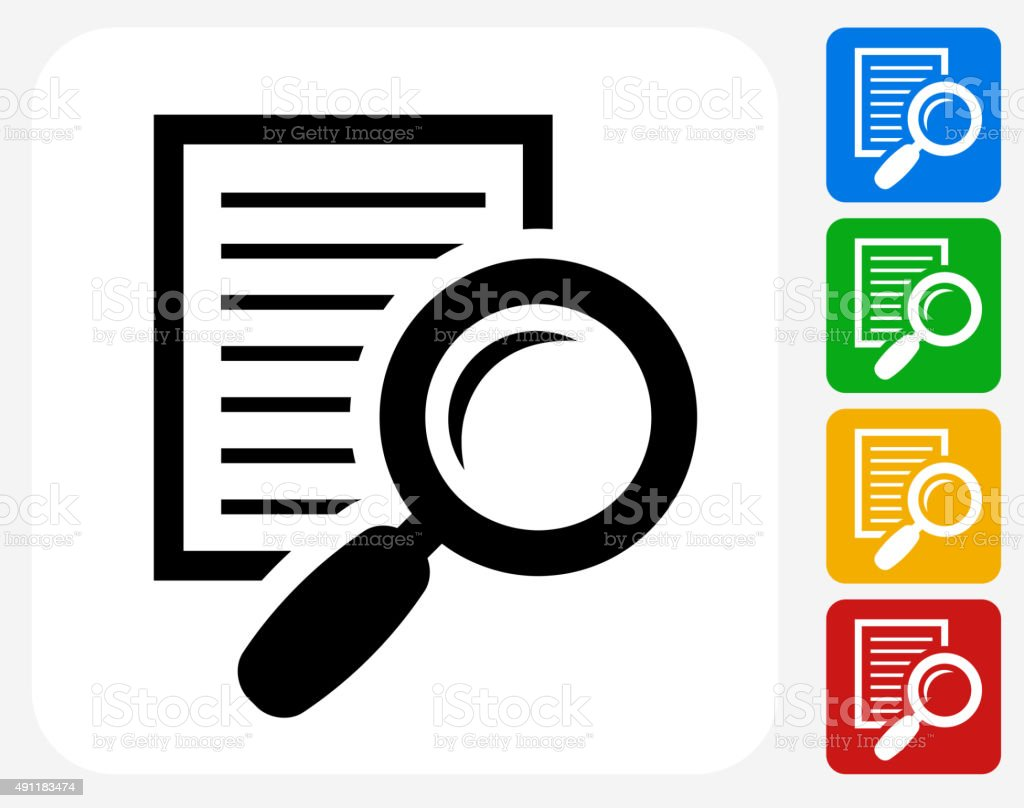 Searching Documents Icon Flat Graphic Design vector art illustration