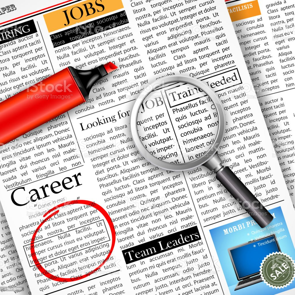 Searching for a job by using a newspaper vector art illustration