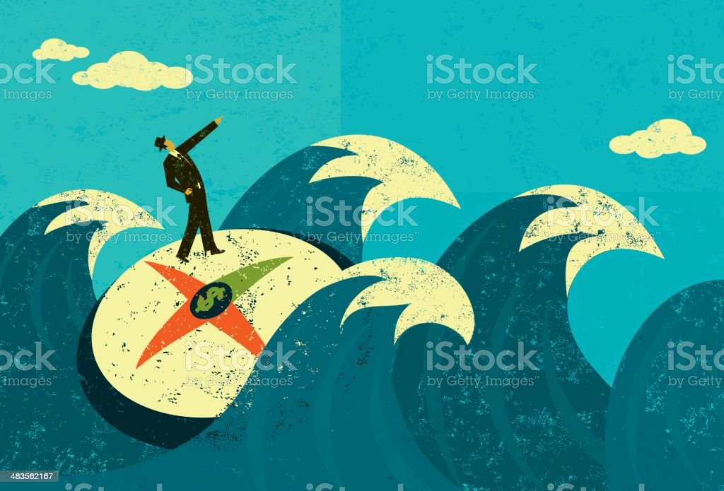 Searching for revenue in unchartered waters vector art illustration