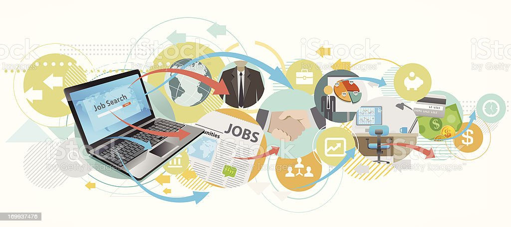 searching job by laptop vector art illustration