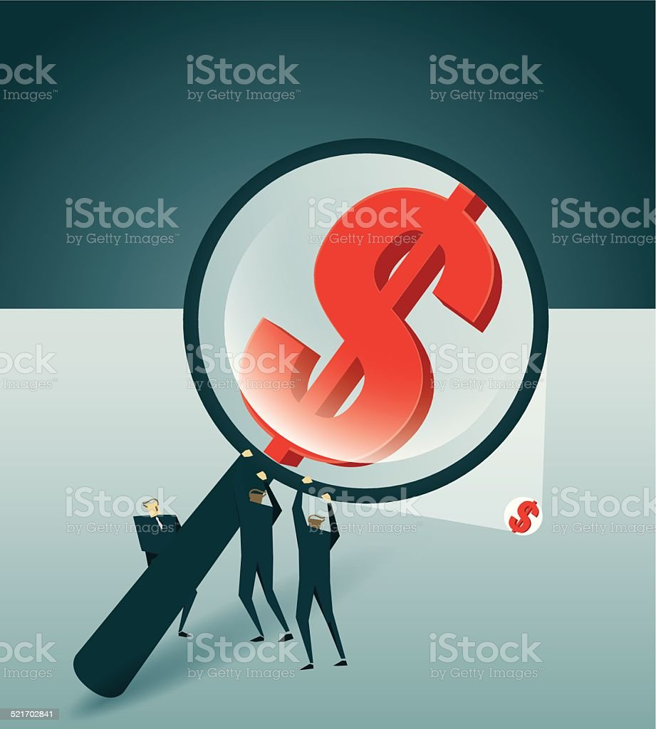 Searching, Magnifying Glass, Currency symbol vector art illustration