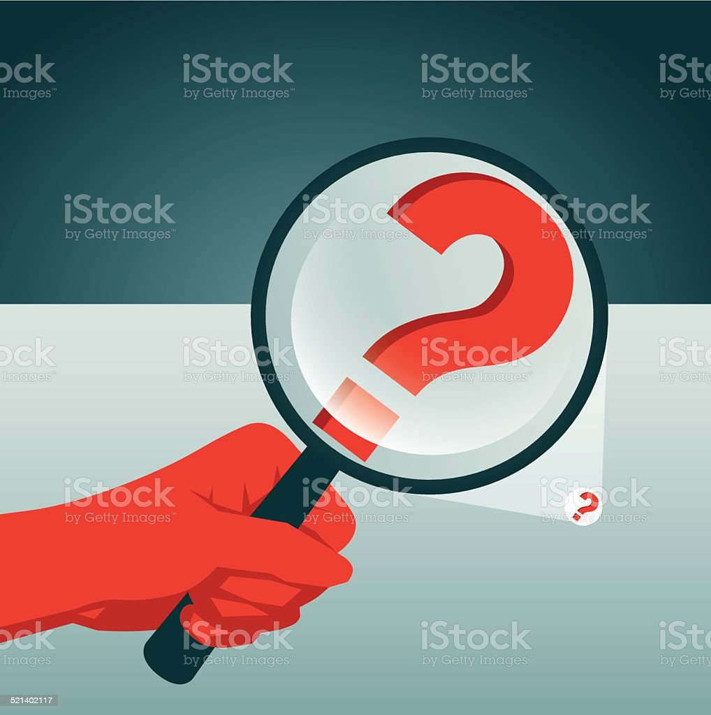 Searching, Magnifying Glass, Problems, Question Mark vector art illustration