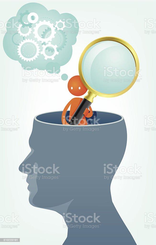 Searching memories vector art illustration