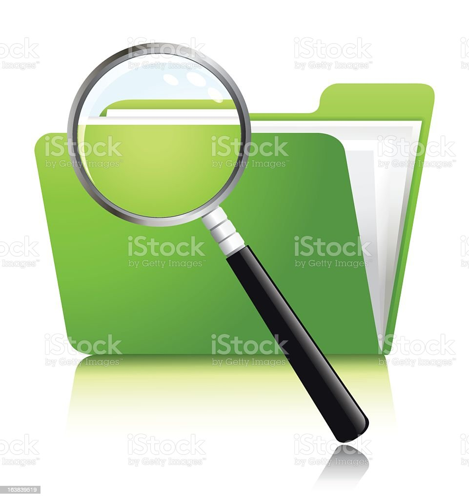 Searching through files with a magnifying glass royalty-free stock vector art