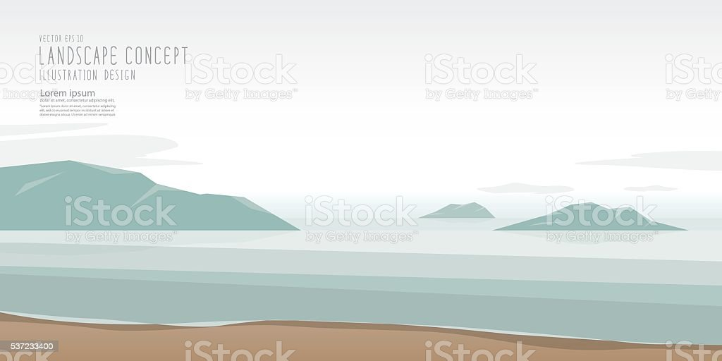Seascape is calm, relaxed and beautiful atmosphere vector, Landscape Concept. vector art illustration