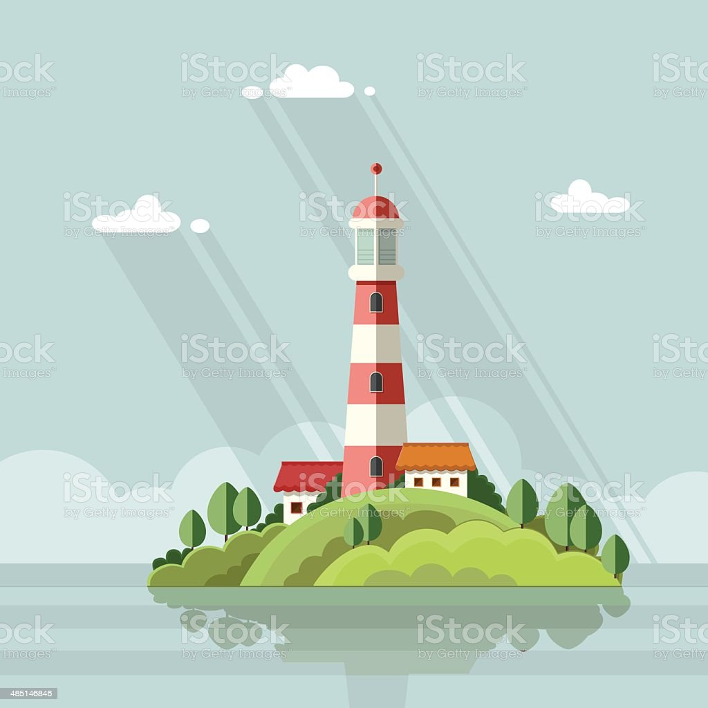 Seascape. Lighthouse on the island on a background of clouds. Flat vector art illustration