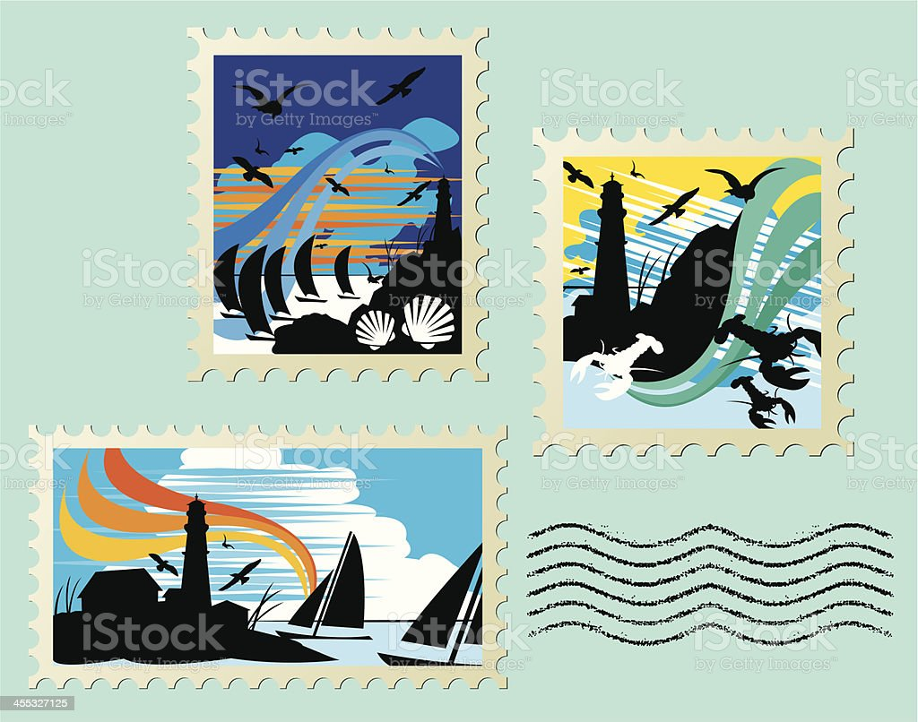 Seascape Stamps Sailboat, Lighthouse, Lobster royalty-free stock vector art