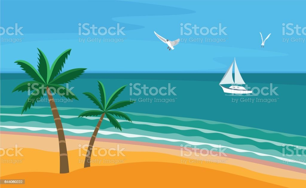 Seascape with beach vector art illustration