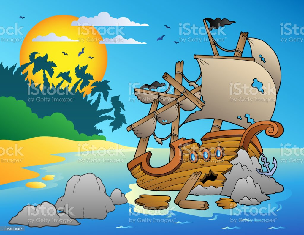 Seascape with shipwreck and rocks vector art illustration