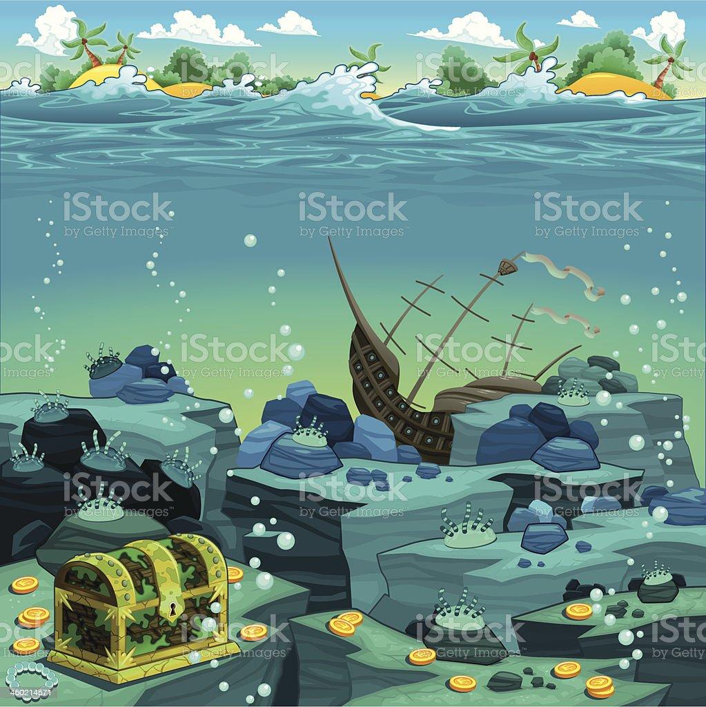 Seascape with treasure and galleon. vector art illustration