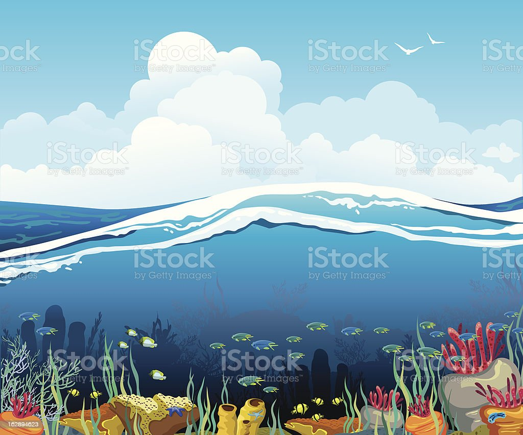 Seascape with underwater creatures and  cloudy sky vector art illustration