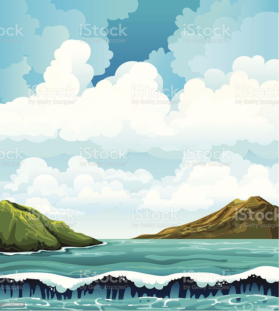 Seascape with waives and islands royalty-free stock vector art
