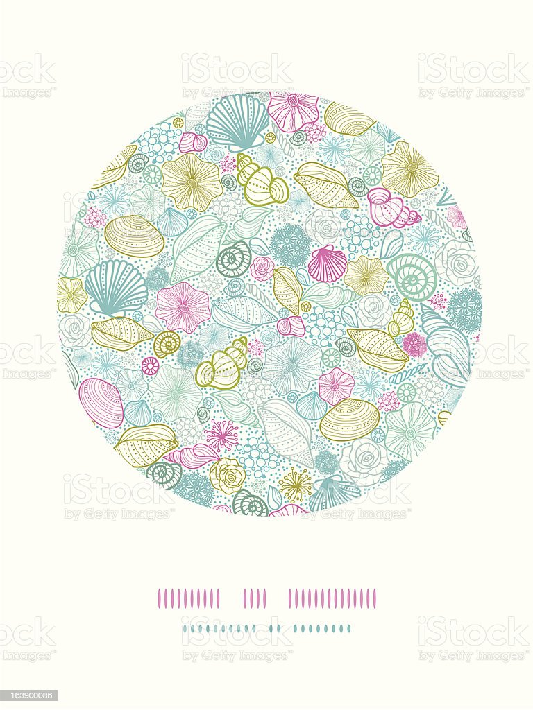 Seashells line art circle decor pattern background royalty-free stock vector art
