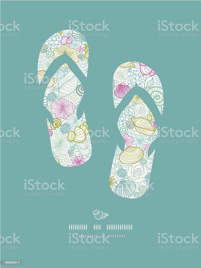 Seashells line art flip flops decor pattern background royalty-free stock vector art