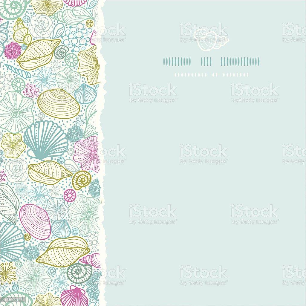 Seashells line art square torn seamless pattern background royalty-free stock vector art