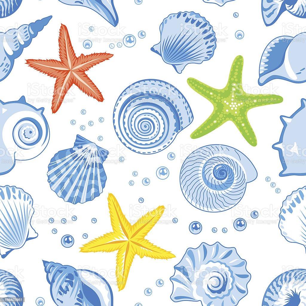 Seashells seamless pattern stock photo