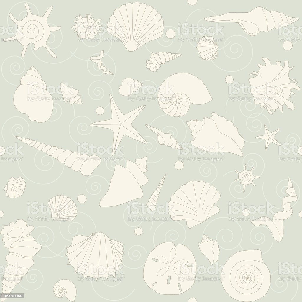 Seashells Seamless Pattern vector art illustration