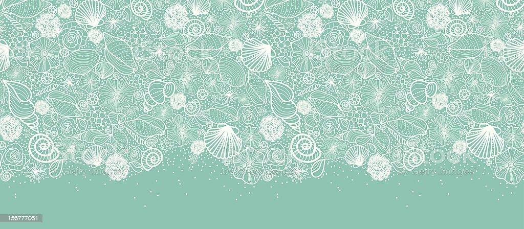 Seashells Texture Horizontal Seamless Pattern Border vector art illustration