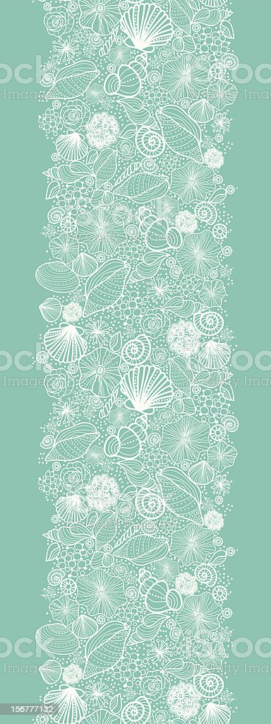 Seashells Texture Vertical Seamless Pattern Border vector art illustration
